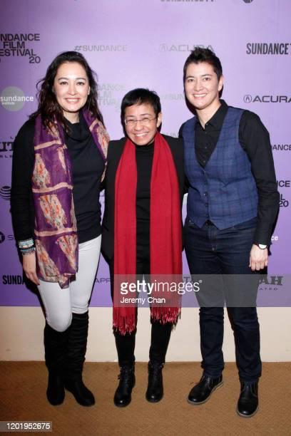 "Michelle Aventajado, Maria Ressa and Nicole Ressa attend the ""A Thousand Cuts"" Premiere during the 2020 Sundance Film Festival at Egyptian Theatre on..."