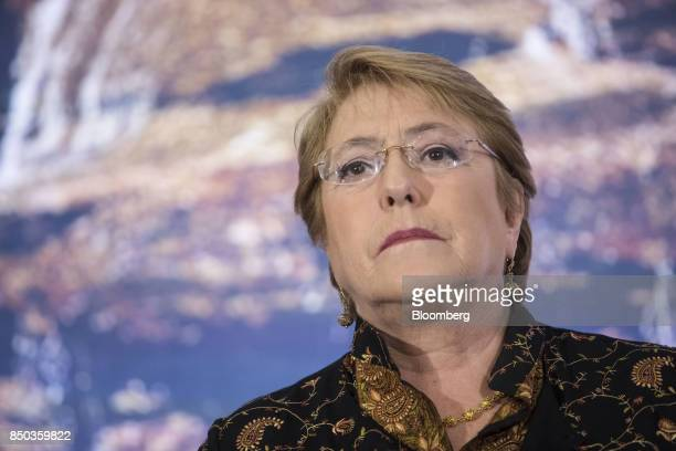 Michelle Bachelet Chile's president attends an Americas Society and Council of the Americas event in New York US on Wednesday Sept 20 2017 The...