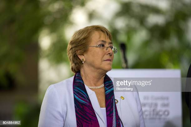 Michelle Bachelet Chile's president attends the Pacific Alliance Summit in Valle del Cauca Department Cali Colombia on Friday June 30 2017 The summit...