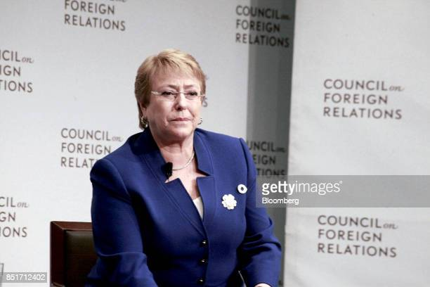 Michelle Bachelet Chile's president pauses while speaking during an event at the Council on Foreign Relations in New York US on Friday Sept 22 2017...