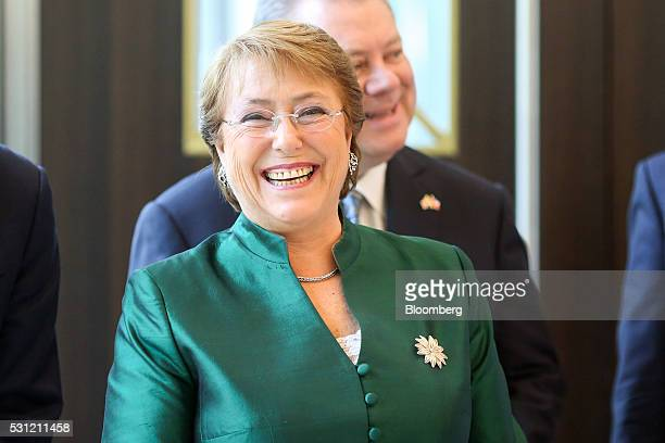 Michelle Bachelet Chile's president reacts at a ceremony to mark the official opening of the London Metal Exchange Ltd's new premises in London UK on...