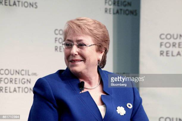 Michelle Bachelet Chile's president smiles during an event at the Council on Foreign Relations in New York US on Friday Sept 22 2017 Bachelet...