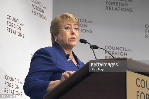 Michelle Bachelet Chile's president speaks during an event at the Council on Foreign Relations in New York US on Friday Sept 22 2017 Bachelet...