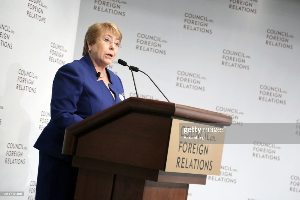 Chile's President Michelle Bachelet Speaks At The Council On Foreign Relations : News Photo