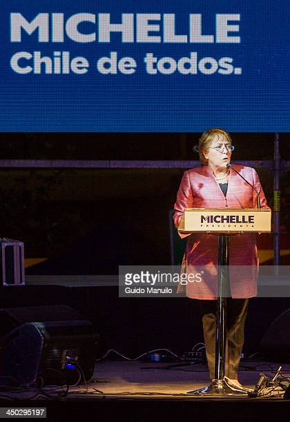 Michelle Bachelet during her speech after the results of the first round of elections for the presidency of Chile on November 17 2013 in Santiago...
