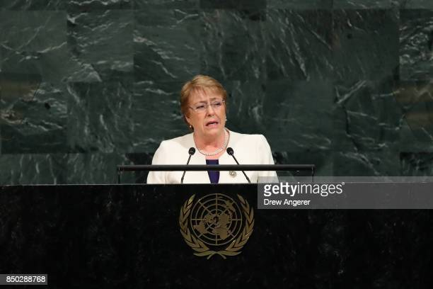 Michelle Bachelet Jeria President of Chile addresses the United Nations General Assembly at UN headquarters September 20 2017 in New York City The...