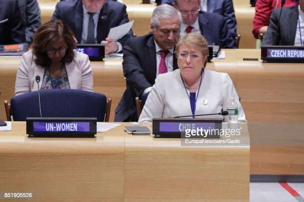Michelle Bachelet Jeria President of Chile during a highlevel event on Financing the Future Education 2030 at the UN Headquarters in New York City...