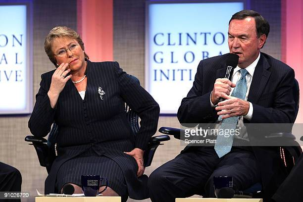 Michelle Bachelet President of Chile and Mike Duke President and CEO of WalMart Stores participate in the Fifth Annual Meeting of the Clinton Global...