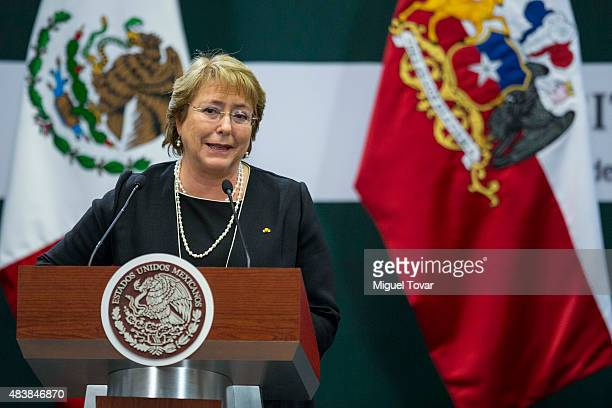 Michelle Bachelet President of Chile gives a speech during an official visit to Mexico at Los Pinos official residence on August 13 2015 in Mexico...