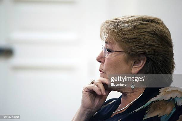 Michelle Bachelet president of Chile listens during an interview at La Moneda Palace in Santiago Chile on Friday Jan 20 2017 On the day that Donald...