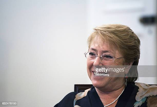 Michelle Bachelet president of Chile smiles during an interview at La Moneda Palace in Santiago Chile on Friday Jan 20 2017 On the day that Donald...