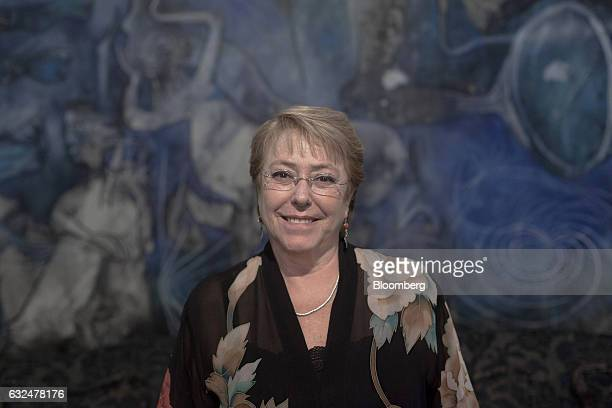 Michelle Bachelet president of Chile stands for a photograph following an interview at La Moneda Palace in Santiago Chile on Friday Jan 20 2017 On...