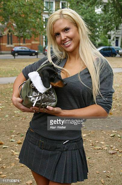 Michelle Bass with dog Valentina during Pugs and Kisses Celebrity Dog Fashion Show at Parson's Green in London Great Britain