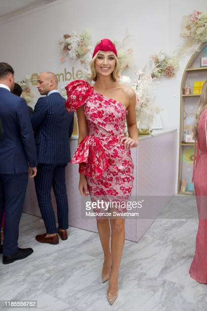 Michelle Battersby attends the Bumble marquee on Melbourne Cup Day at Flemington Racecourse on November 05 2019 in Melbourne Australia