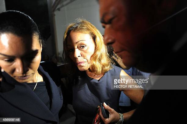Michelle Bennett exwife of former Haitian dictator Jean Claude Duvalier and her daughter Anya Duvalier depart a ceremony in memory Duvalier in...