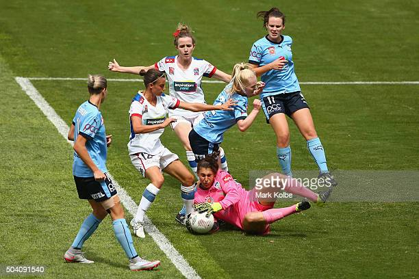Michelle Betos of Sydney FC runs out to secure the ball in front of goal during the round 13 WLeague match between Sydney FC and the Newcastle Jets...