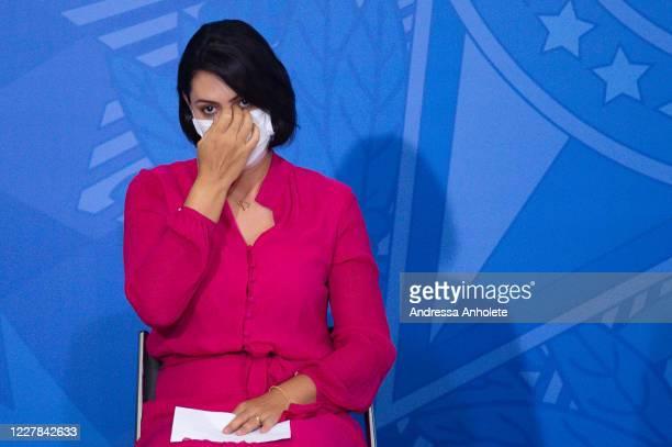 Michelle Bolsonaro, wife of president of Brazil Jair Bolsonaro oberves during launch the Rural Women Campaign amidstthe coronavirus pandemic at the...
