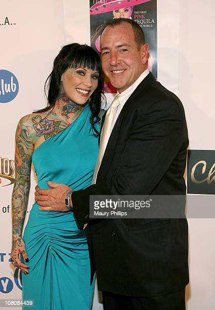 """Michelle """"Bombshell"""" McGee and Michael Lohan arrive at Charmaine Blake's 1st Annual Golden Globe Viewing Party, Hosted By Tara Reid - To Help..."""
