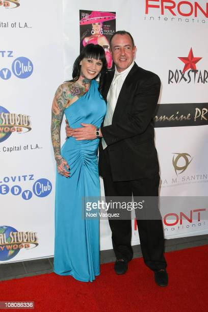 Michelle Bombshell McGee and Michael Lohan attend a Tara Reid hosted Golden Globes viewing dinner party at the Jon Lovitz Comedy Club on January 16...