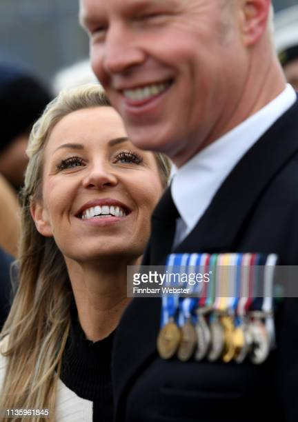 Michelle Brassington welcomes home sailor Jason Moore on March 15 2019 in Devonport England HMS Argyll a type 23 frigate with 230 crew members was...