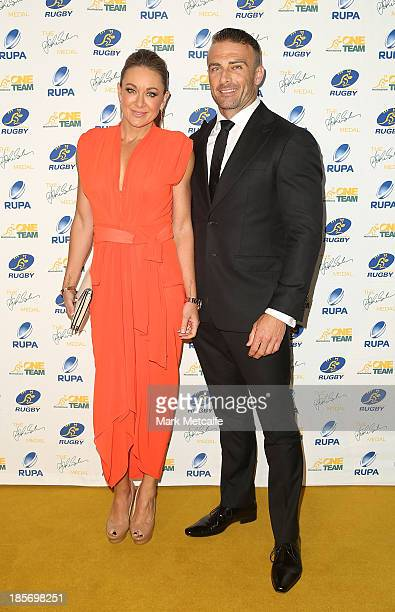 Michelle Bridges and Steve Willis arrive at the 2013 John Eales Medal at Sydney Convention Exhibition Centre on October 24 2013 in Sydney Australia