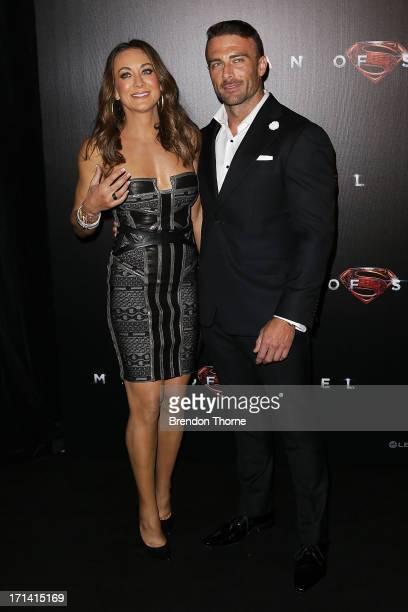 Michelle Bridges and Steve Willis arrives at the Man Of Steel Australian premiere on June 24 2013 in Sydney Australia