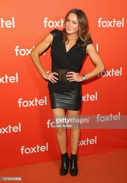 Michelle Bridges arrives ahead of the Foxtel Launch Event at Fox Studios on August 14 2018 in Sydney Australia