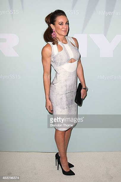 Michelle Bridges arrives at the Myer Spring Summer 2014 Fashion Launch at Carriageworks on August 7 2014 in Sydney Australia
