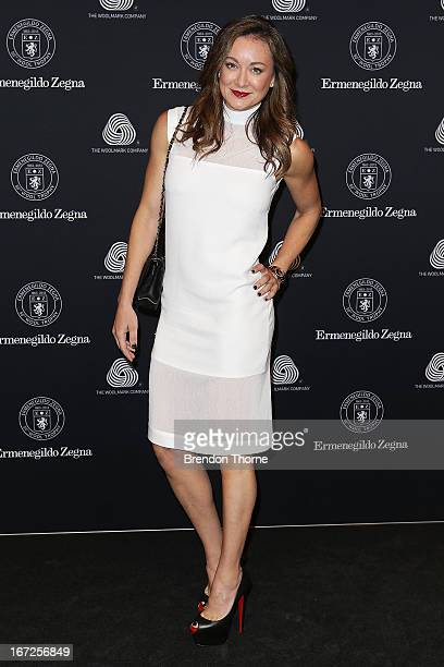 SYDNEY AUSTRALIA APRIL Michelle Bridges arrives for the 50th Anniversary Wool Awards at the Royal Hall of Industries Moore Park on April 23 2013 in...