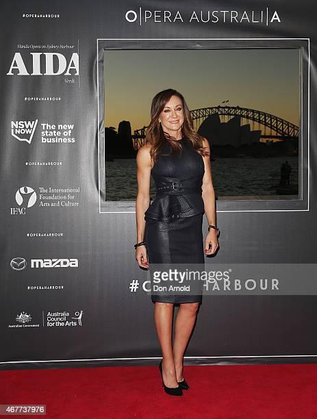 Michelle Bridges attends Handa Opera's Aida opening night at the Fleet Steps on March 27 2015 in Sydney Australia
