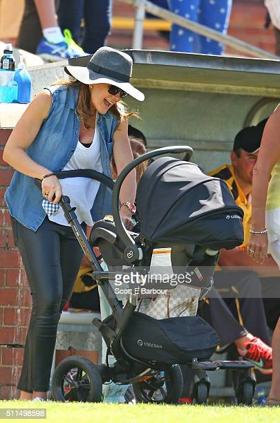 Michelle Bridges with her baby Axel in his pram during the Medibank Melbourne Celebrity Twenty20 match at North Port Oval on February 21 2016 in...