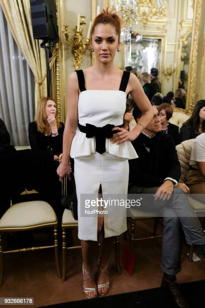 Michelle Jenner during fashion week ATELIER COUTURE fashionable bridal and luxury in ceremony at the Fernan Nunez Palace in Madrid March 15 2018
