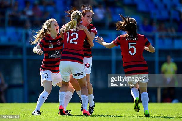 Michelle Carney of the Wanderers celebrates scoring a goal with team mates during the round six WLeague match between the Western Sydney Wanderers...