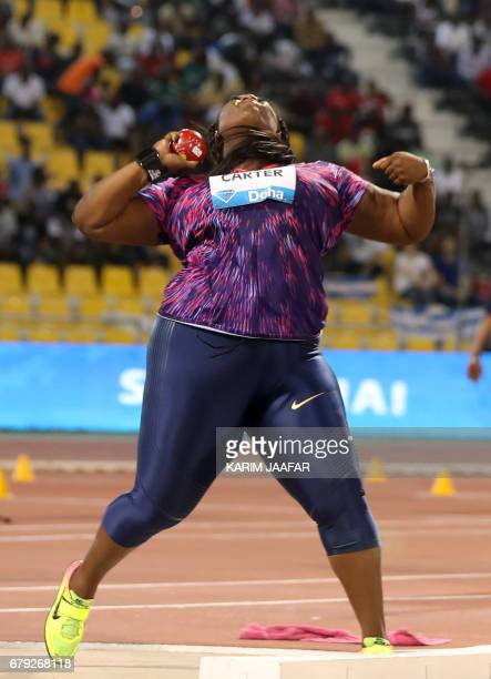 US' Michelle Carter competes in the woman's shot put during the Diamond League athletics competition at the Suhaim bin Hamad Stadium in Doha on May 5...