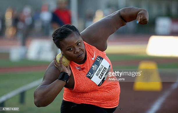 Michelle Carter competes in the Womens Shot Put during day one of the 2015 USA Outdoor Track Field Championships at Hayward Field on June 25 2015 in...