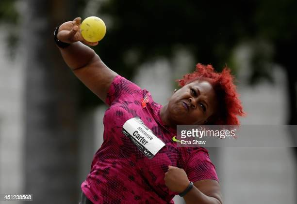 Michelle Carter competes in the women's shot put final at the California State Capitol on day 1 of the USATF Outdoor Championships on June 25 2014 in...