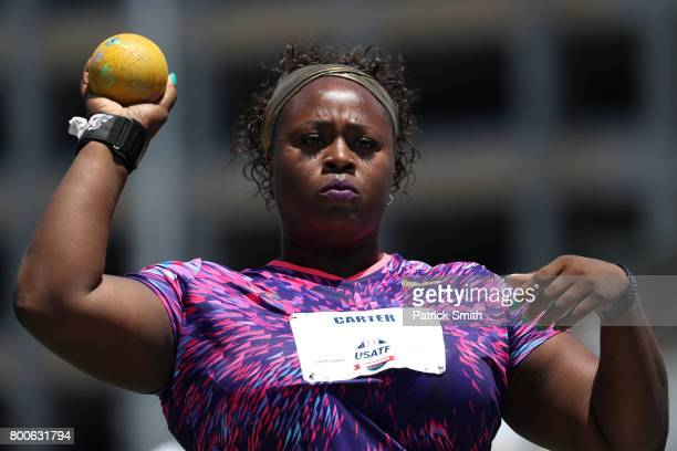 Michelle Carter competes in the Women's Shot Put Final during Day 3 of the 2017 USA Track Field Outdoor Championships at Hornet Stadium on June 24...