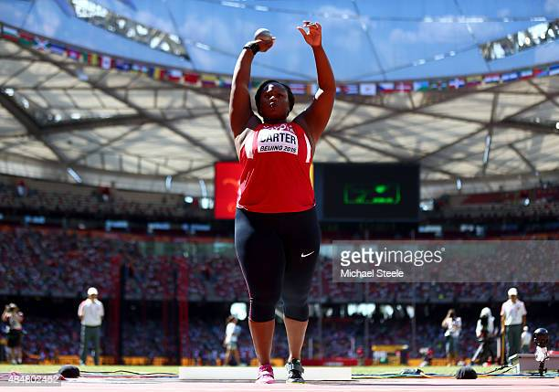 Michelle Carter of the United States competes in the qualification for the Women's Shot Put during day one of the 15th IAAF World Athletics...
