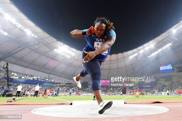 Michelle Carter of the United States competes in the Women's Shot Put final during day seven of 17th IAAF World Athletics Championships Doha 2019 at...