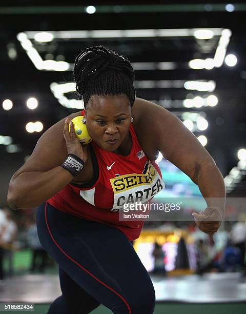 Michelle Carter of the United States competes in the Women's Shot Put Final during day three of the IAAF World Indoor Championships at Oregon...