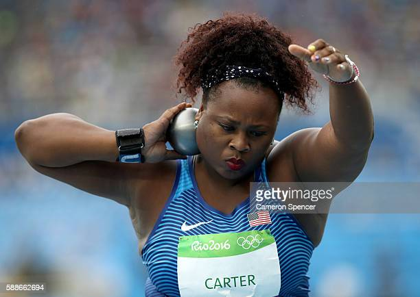 Michelle Carter of the United States competes in the Women's Shot Put qualification on Day 7 of the Rio 2016 Olympic Games at the Olympic Stadium on...