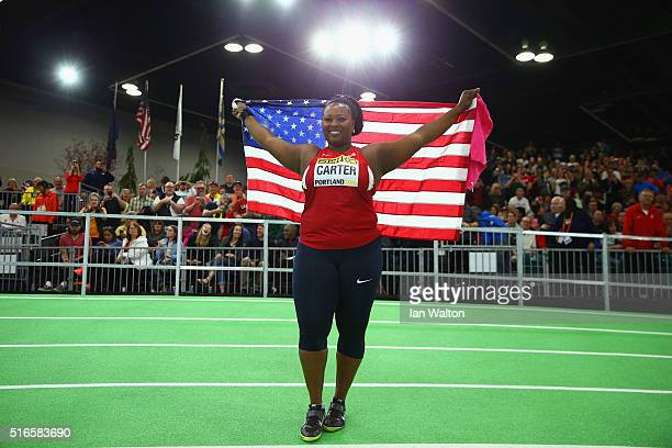 Michelle Carter of the United States wins gold in the Women's Shot Put Final during day three of the IAAF World Indoor Championships at Oregon...