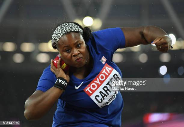 Michelle Carter of United States competes in the Women's Shot Put final during day six of the 16th IAAF World Athletics Championships London 2017 at...
