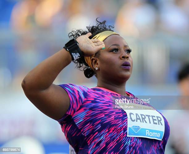 Michelle Carter of United States reacts during the shot put women at the Golden Gala Pietro Mennea at Stadio Olimpico on June 8 2017 in Rome Italy
