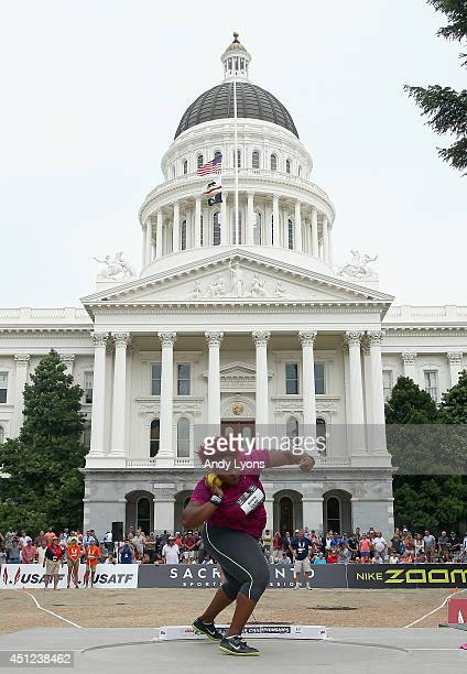 Michelle Carter prepares for a throw on her way to win the Women's Shot Put Final at the California State Capital on day one of the USATF Outdoor...
