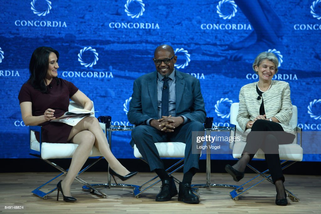 Michelle Caruso-Cabrera, Chief Correspondent, NBCU, Forest Whitaker, UNESCO Special Envoy for Peacel, and Irina Bokova, Director General, UNESCO, attend The 2017 Concordia Annual Summit at Grand Hyatt New York on September 18, 2017 in New York City.