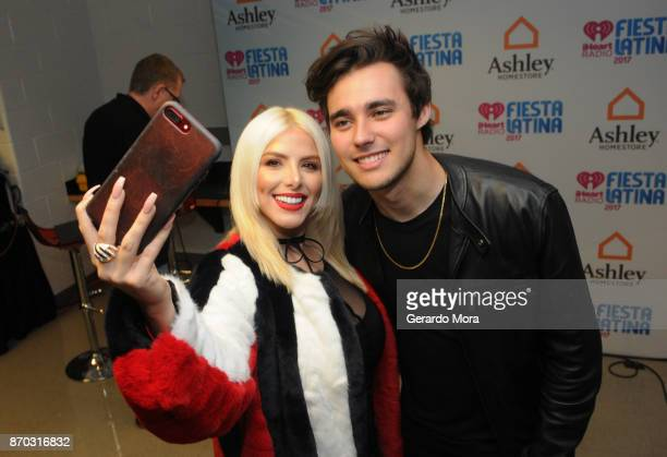 Michelle Ciotti and Jorge Blanco attend the iHeartRadio Fiesta Latina Celebrating Our Heroes at American Airlines Arena on November 4 2017 in Miami...