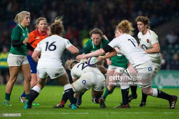 Michelle Claffey of Ireland is tackled by Marlie Packer of England during the International match between England Women and Ireland Women at...