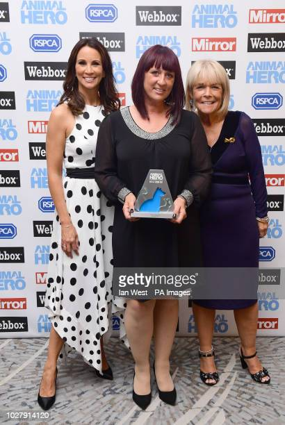 Michelle Clark with the Special Recognition Award presented by Andrea McLean and Linda Robson at the Animal Hero Awards 2018 held at the Grosvenor...