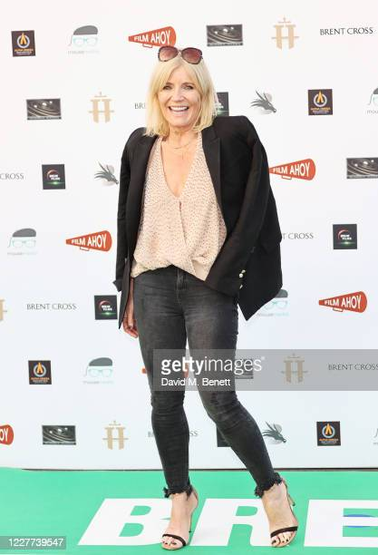 """Michelle Collins attends the Drive-In World Premiere of """"Break"""" at Brent Cross Shopping Centre on July 22, 2020 in London, England."""